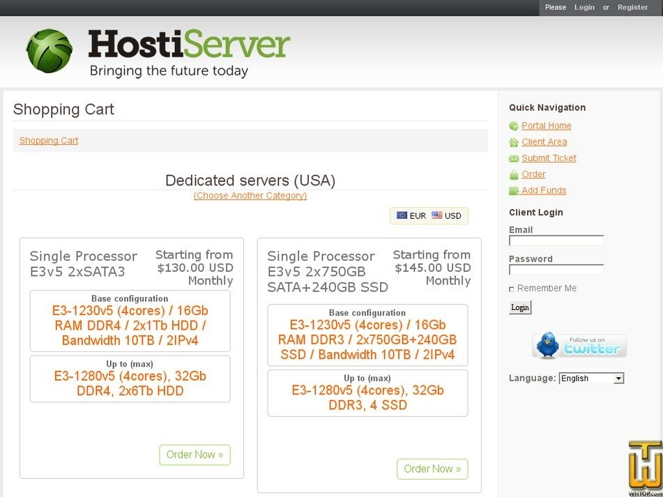 Screenshot of VDS XEN SSD-30 from hostiserver.com