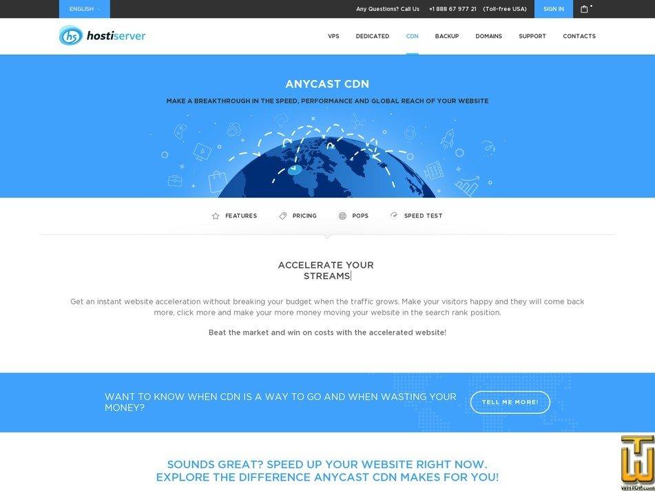 Screenshot of 1 Gbps free test from hostiserver.com