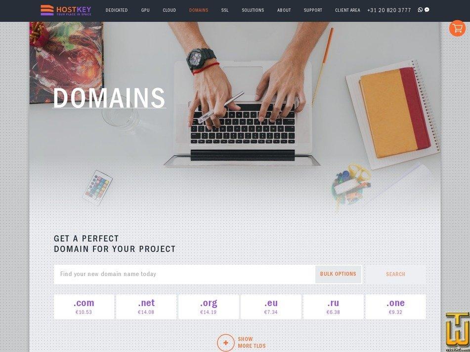 screenshot of .com from hostkey.com