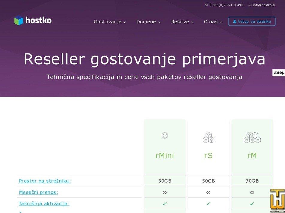 Screenshot of rS Reseller Hosting from hostko.si