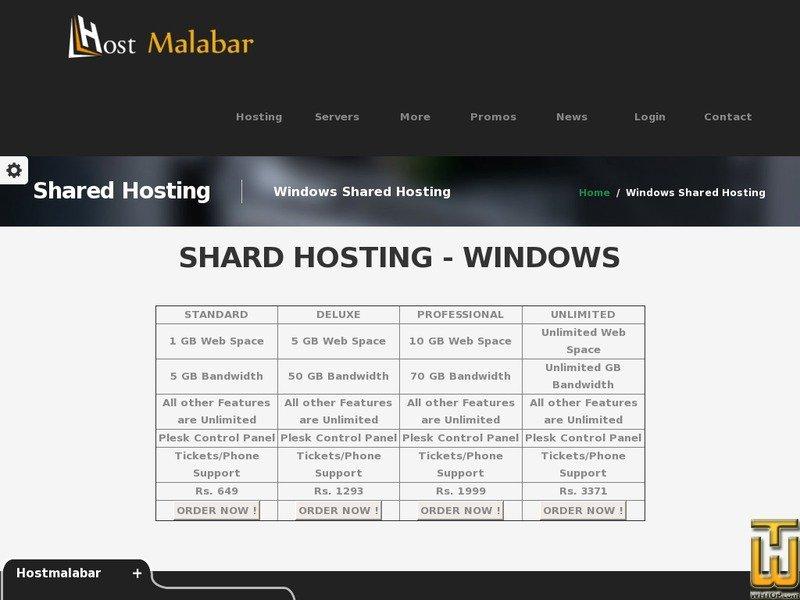 Screenshot of Standard from hostmalabar.in