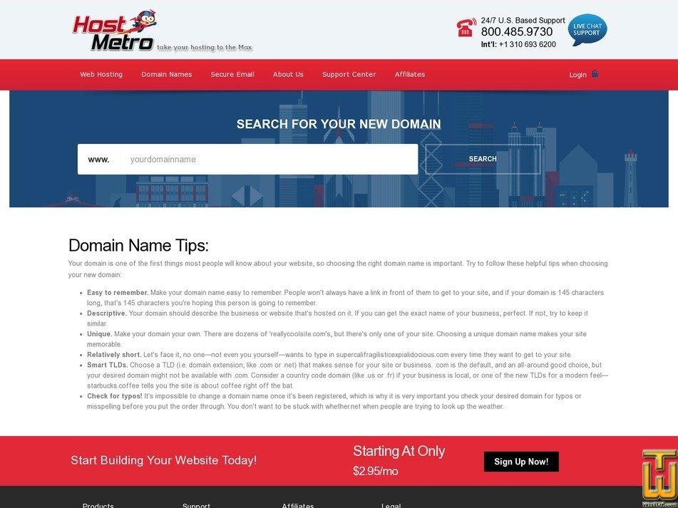 screenshot of .COM from hostmetro.com