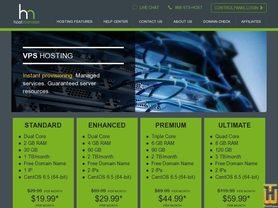screenshot of Premium from hostmonster.com