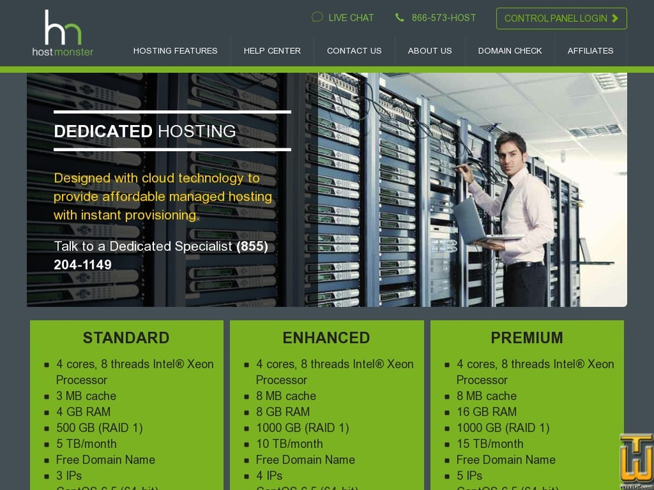 screenshot of Standard from hostmonster.com