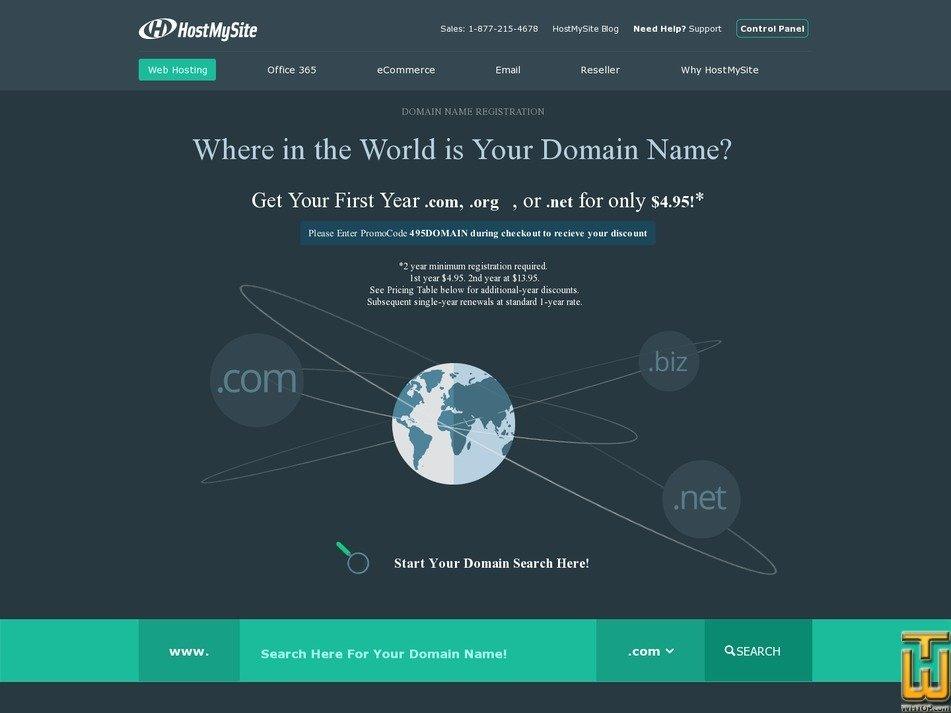 Screenshot of .COM from hostmysite.com