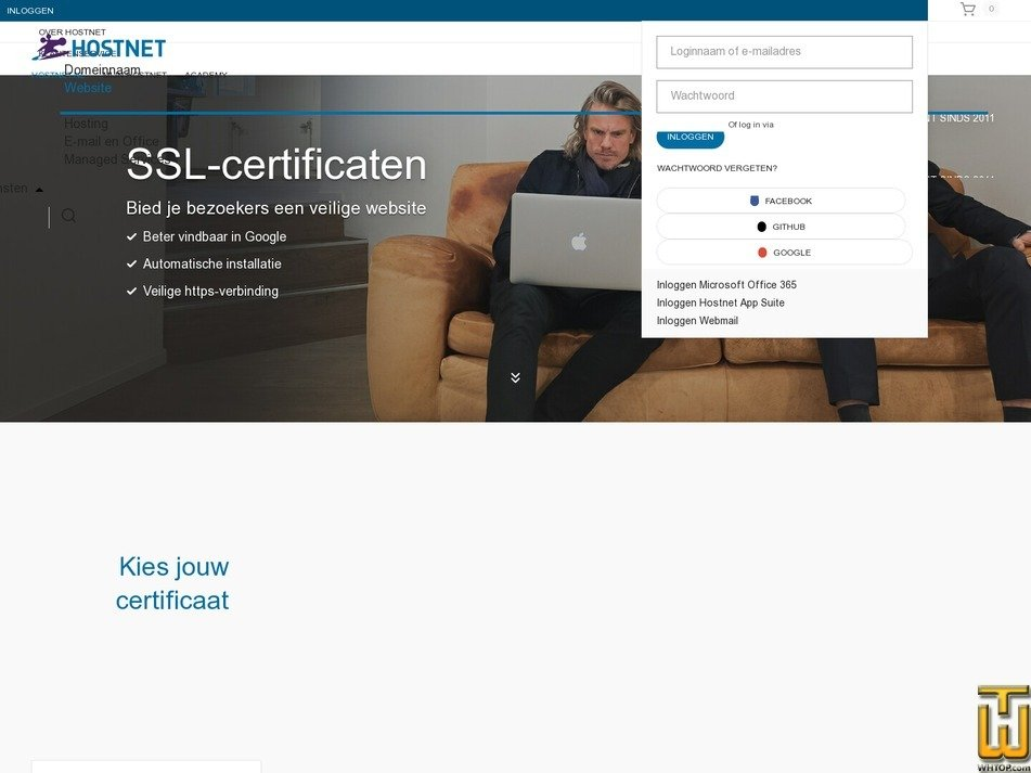 screenshot of EV SSL from hostnet.nl