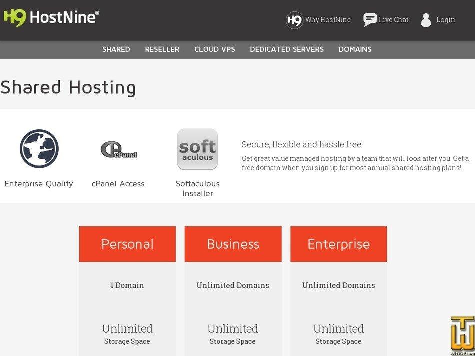 Screenshot of Business from hostnine.com