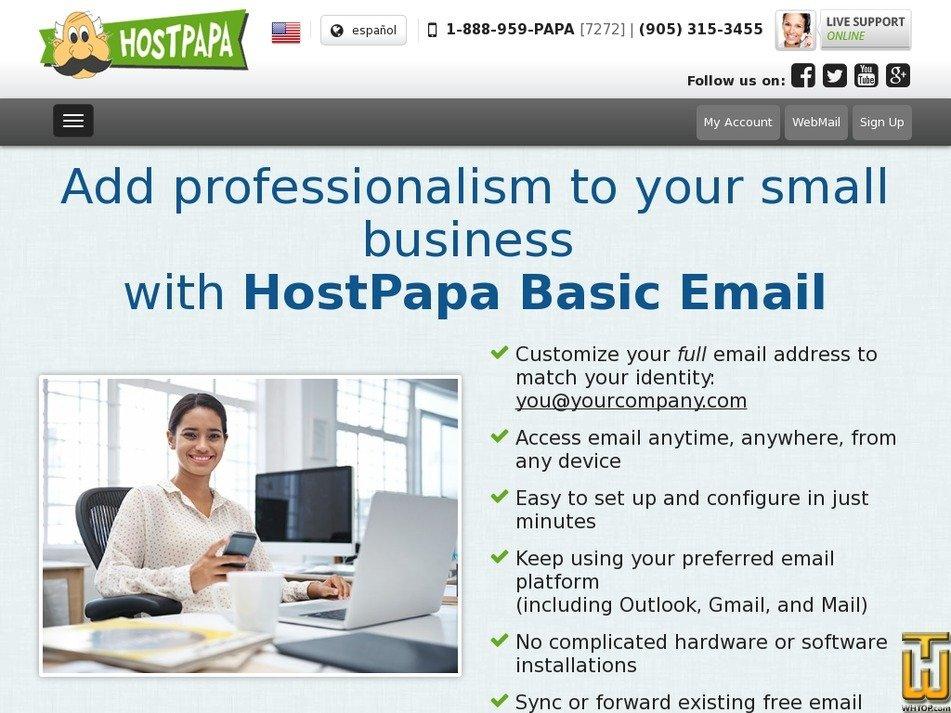 скриншот Basic Email от hostpapa.com