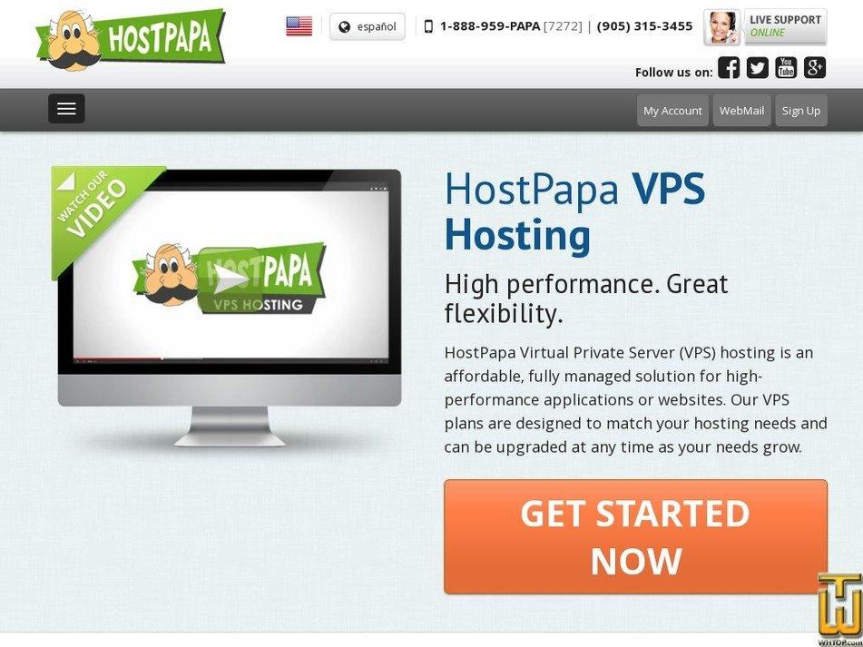 Screenshot of VPS-Plus from hostpapa.com