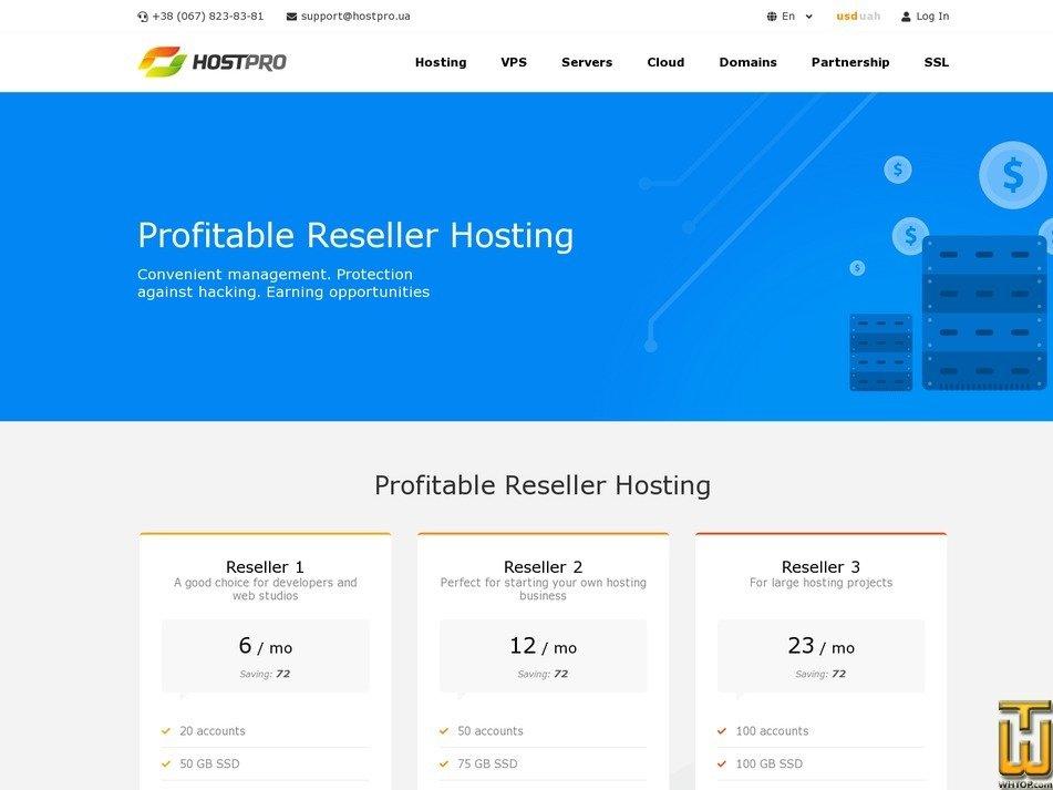 screenshot of Reseller 1 from hostpro.ua