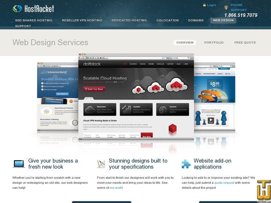 Screenshot of Custom Design from hostrocket.com