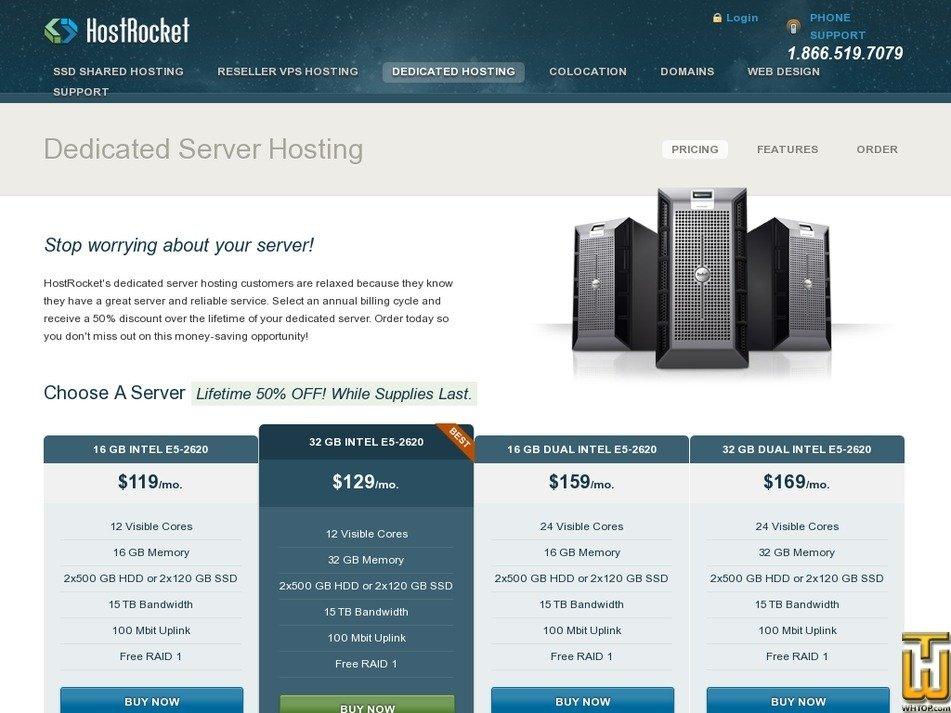 Screenshot of 16 GB Intel E5-2620 from hostrocket.com