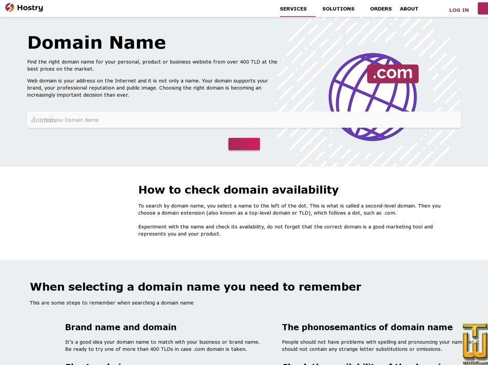 screenshot of .com from hostry.com