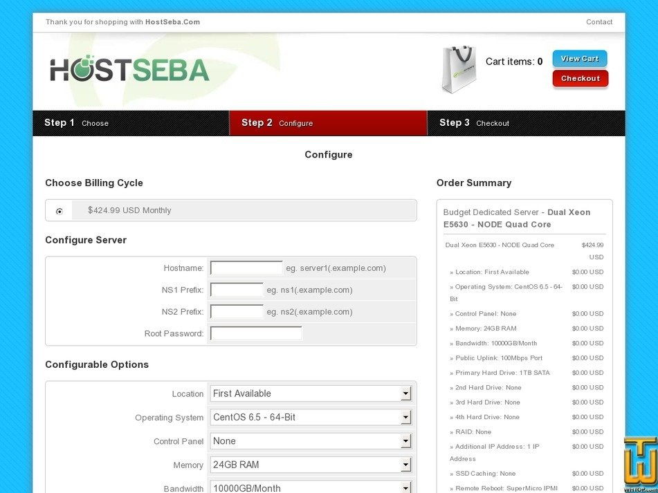 Screenshot of Dual Xeon E5630 - NODE Quad Core from hostseba.com