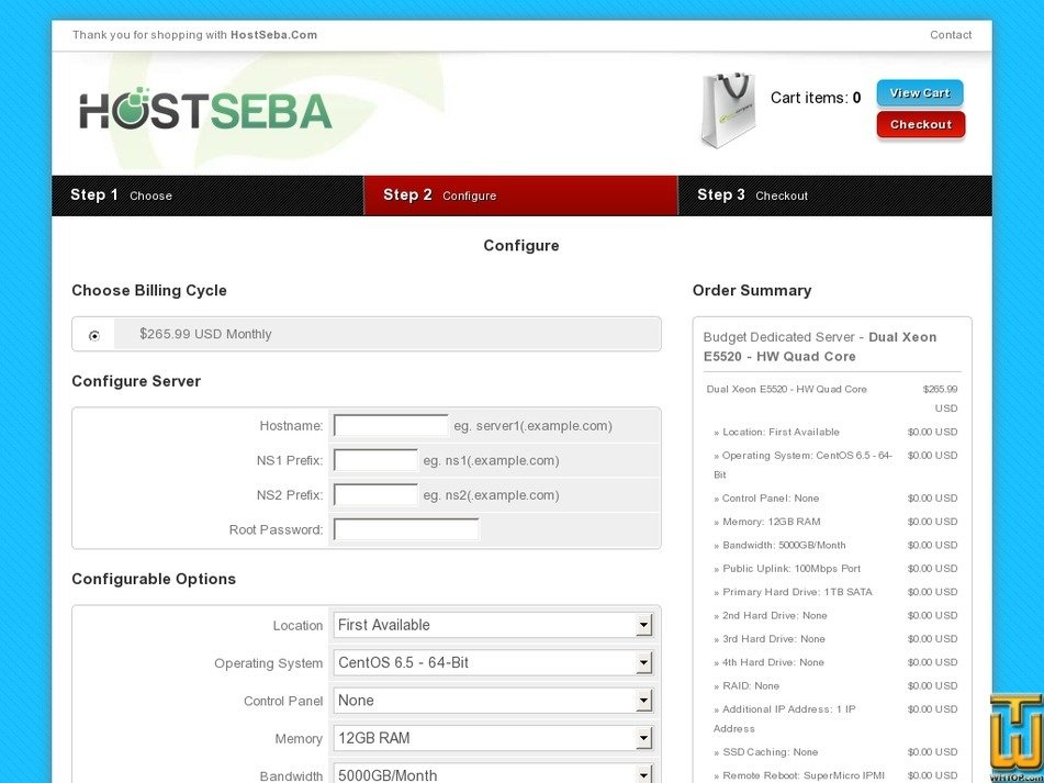 Screenshot of Dual Xeon E5520 - HW Quad Core from hostseba.com