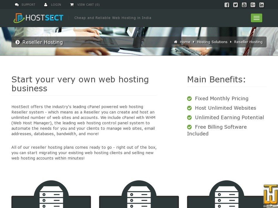 Screenshot of Master Reseller from hostsect.in