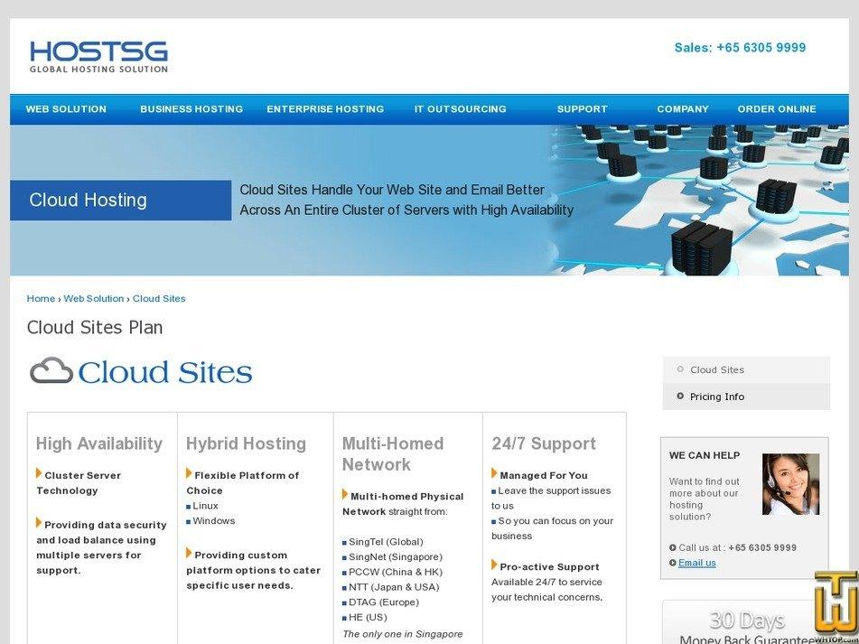 screenshot of Gold from hostsg.com