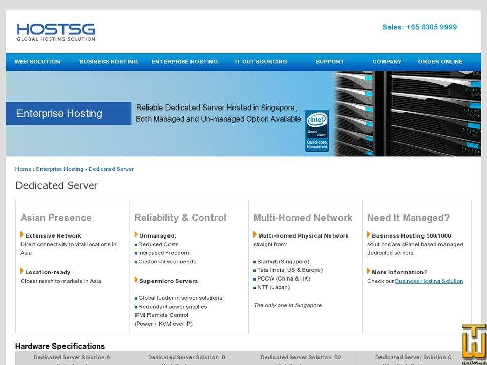 Screenshot of Entry Level from hostsg.com