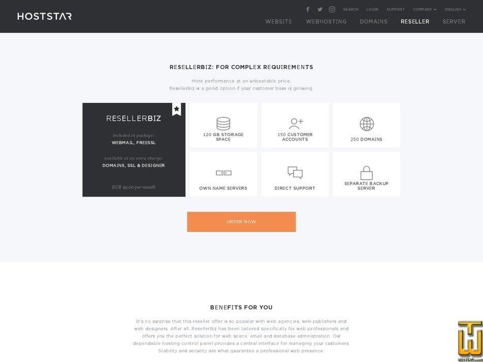 Screenshot of ResellerBiz from hoststar.at
