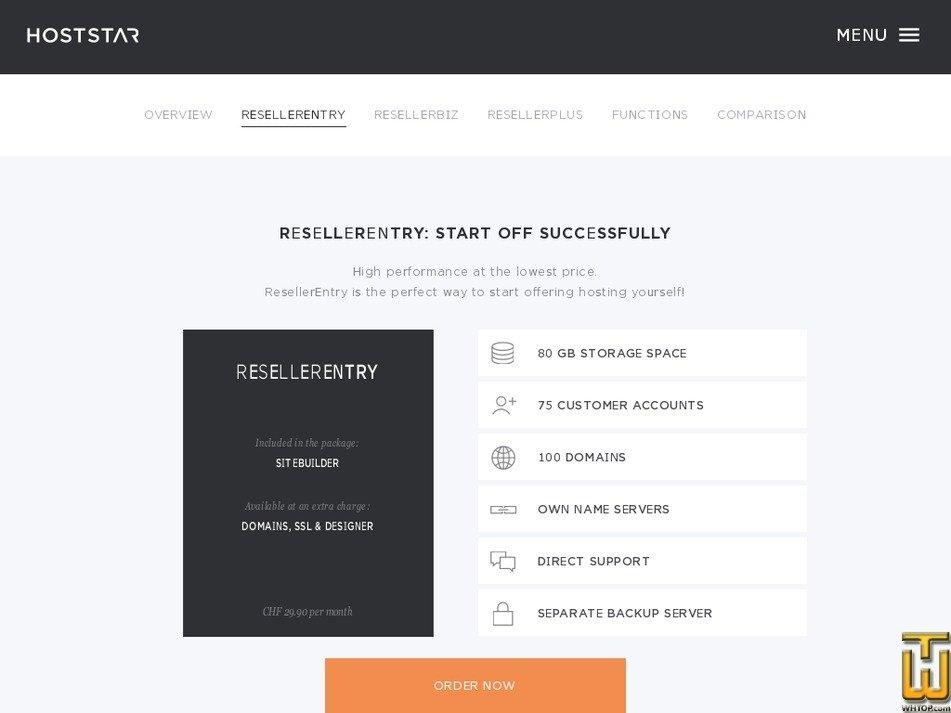 Screenshot of ResellerEntry from hoststar.ch