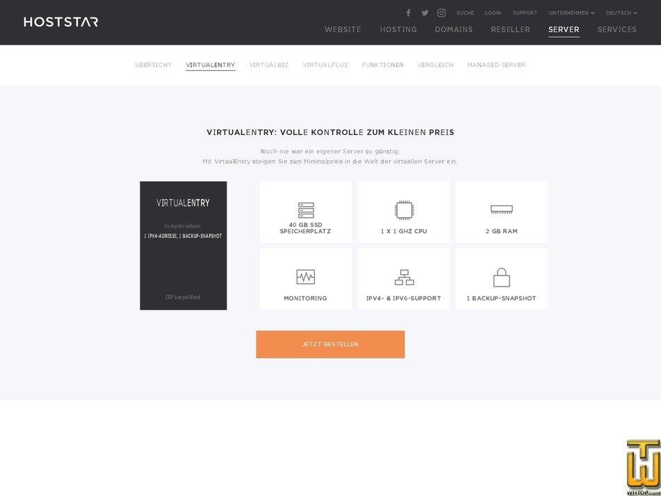 Screenshot of VirtualEntry from hoststar.ch