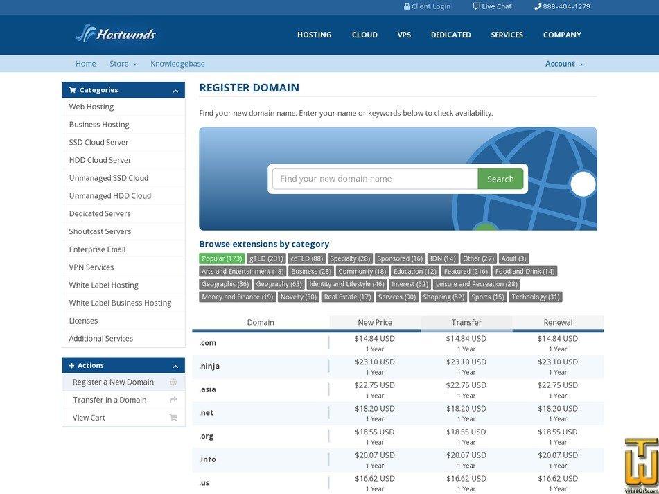 Screenshot of .com from hostwinds.com