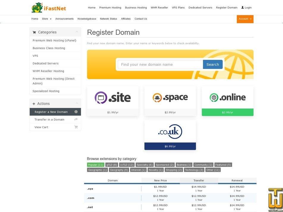 screenshot of .com .net .org .info from ifastnet.com