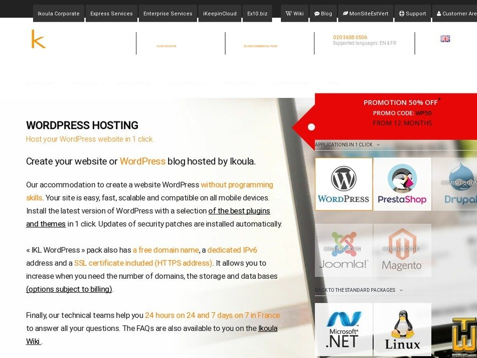 screenshot of IKL WordPress from ikoula.com