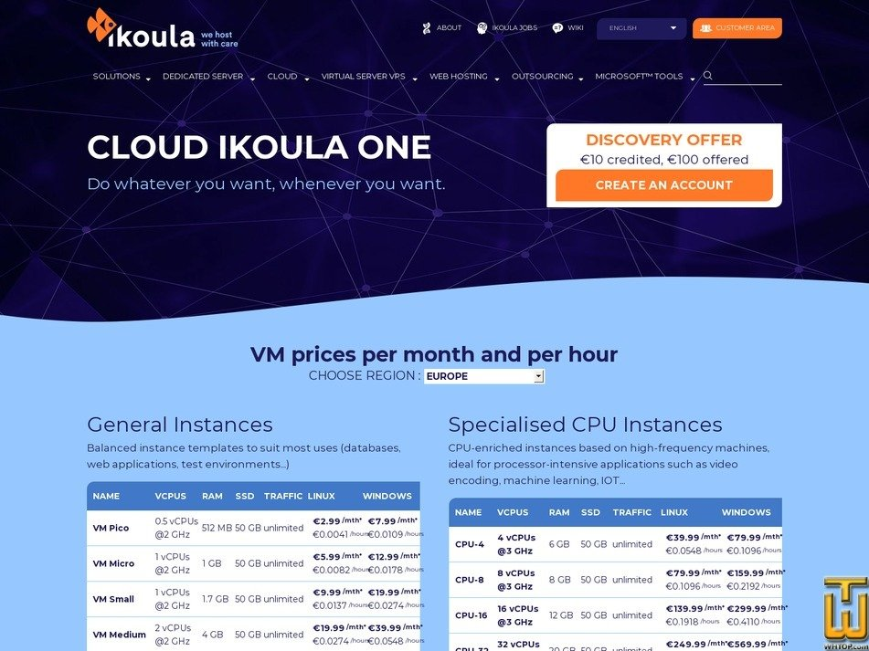 screenshot of VM Pico from ikoula.com