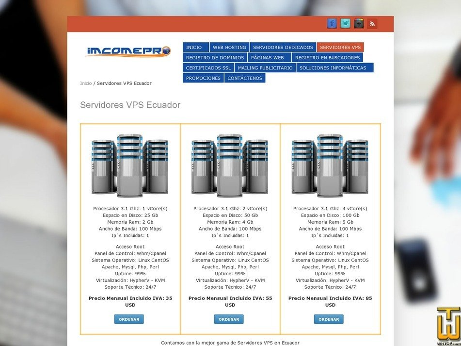 Screenshot of Vps1 from imcomepro.com