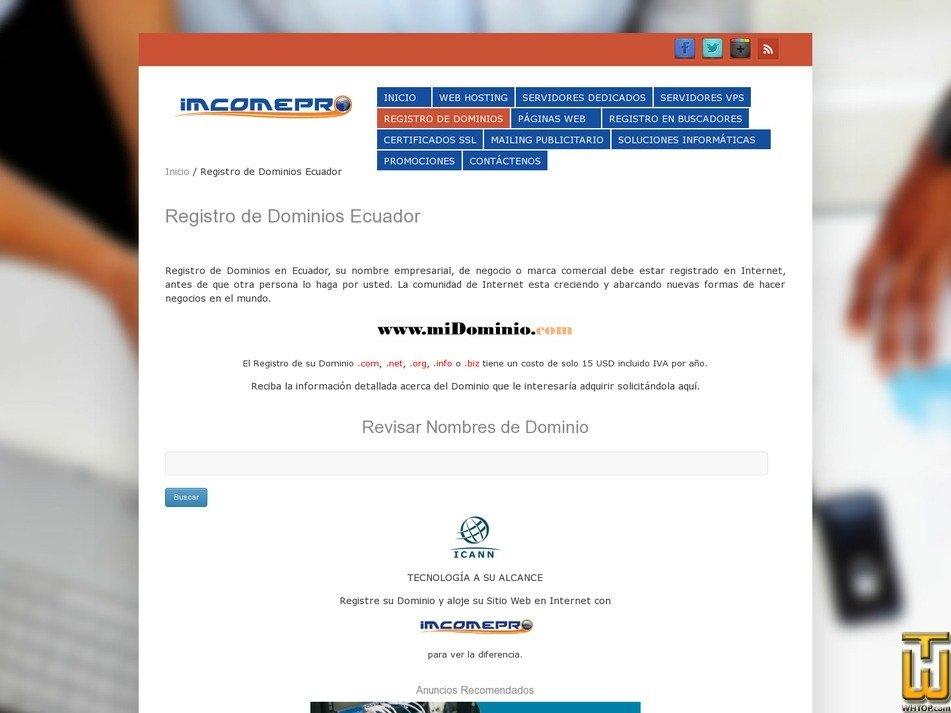 screenshot of Registro de Dominios from imcomepro.com