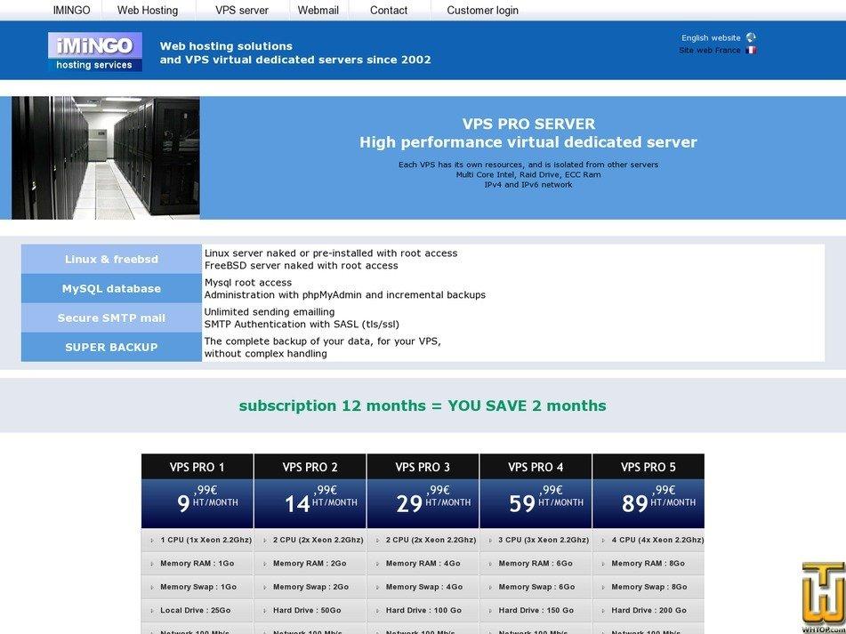 captura de pantalla de VPS PRO 5 desde imingo.net
