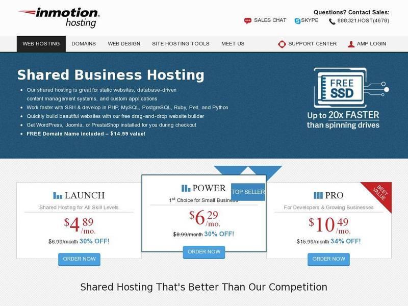 Screenshot of Pro Plan from inmotionhosting.com