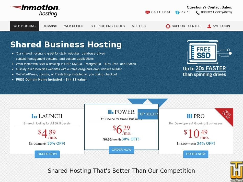 Screenshot of Launch from inmotionhosting.com