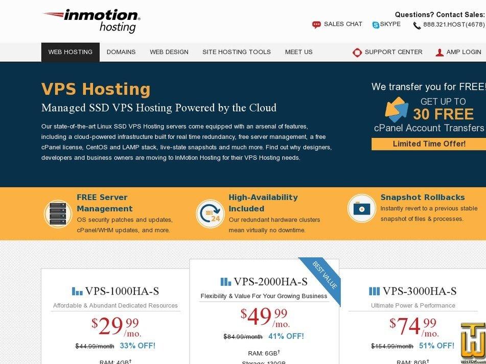 Screenshot of VPS-1000HA-S from inmotionhosting.com
