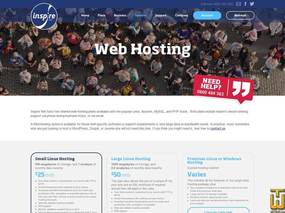 screenshot of Premium Linux or Windows Hosting from inspire.net.nz