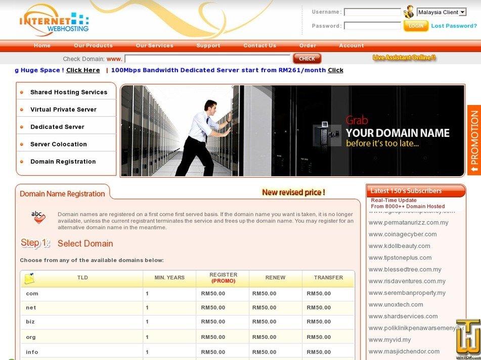 Screenshot of .com .net .biz .org .info .us .name from internet-webhosting.com