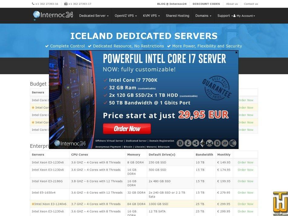 screenshot of Iceland i5 4G from internoc24.host