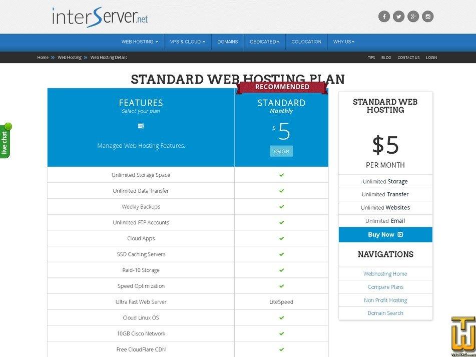 Screenshot of Standard from interserver.net
