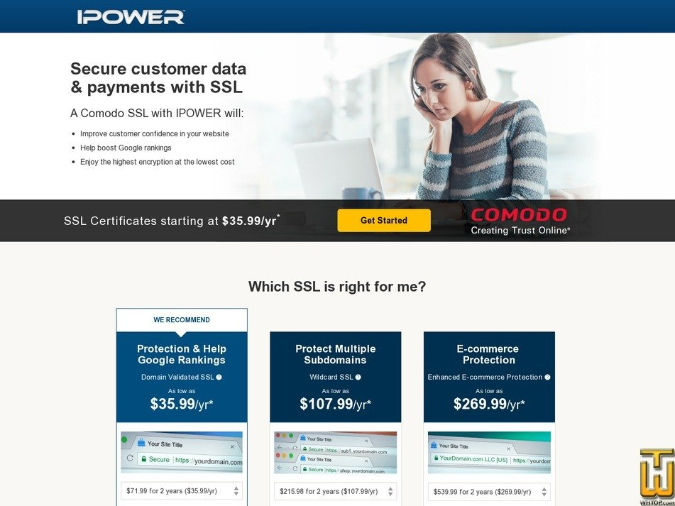 Screenshot of Enhanced E-commerce Protection from ipower.com
