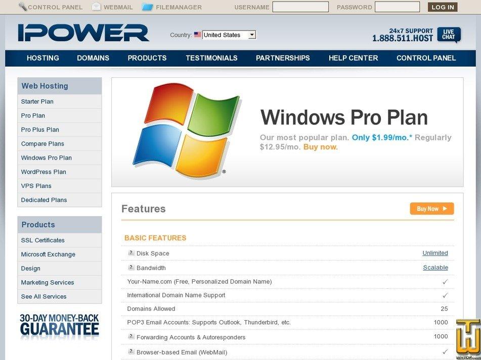 Screenshot of Windows Pro from ipower.com