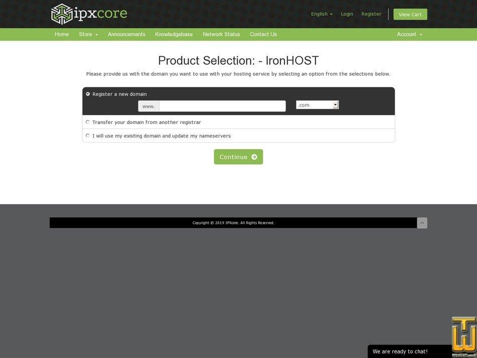 screenshot of IronHOST from ipxcore.com