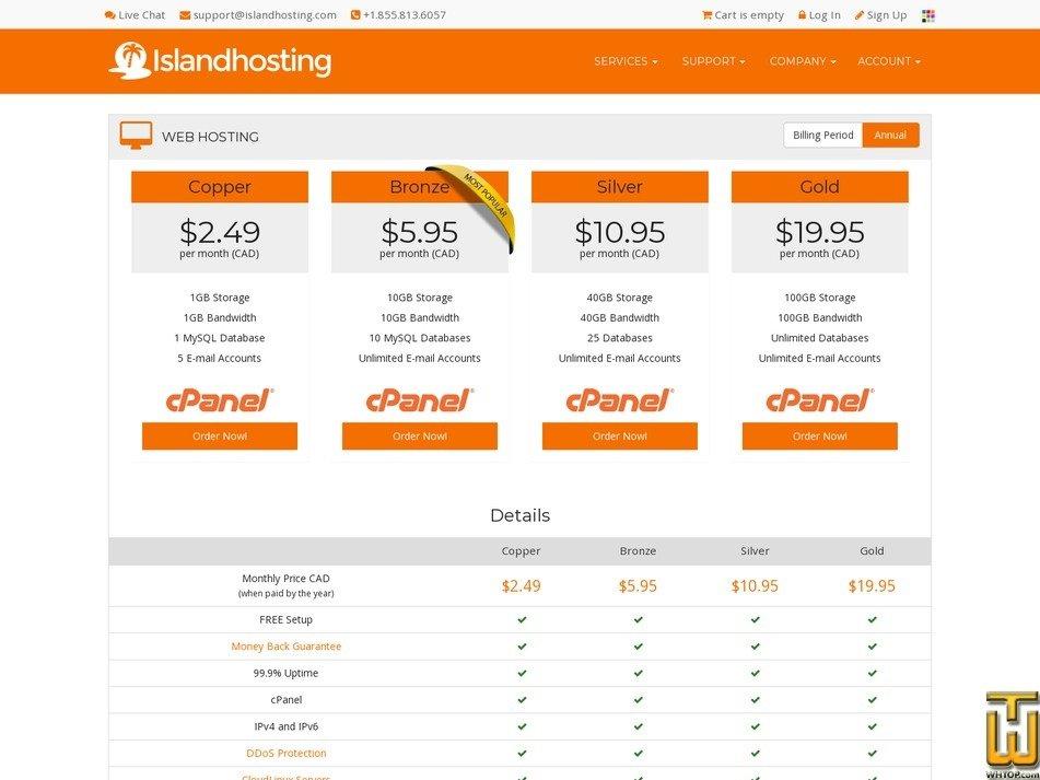 screenshot of Copper from islandhosting.com