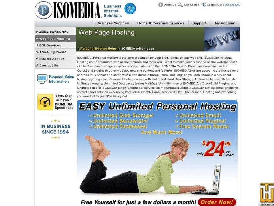 screenshot of Personal Hosting from isomedia.com