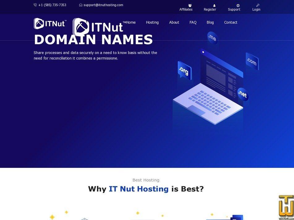Screenshot of .com from itnuthosting.com