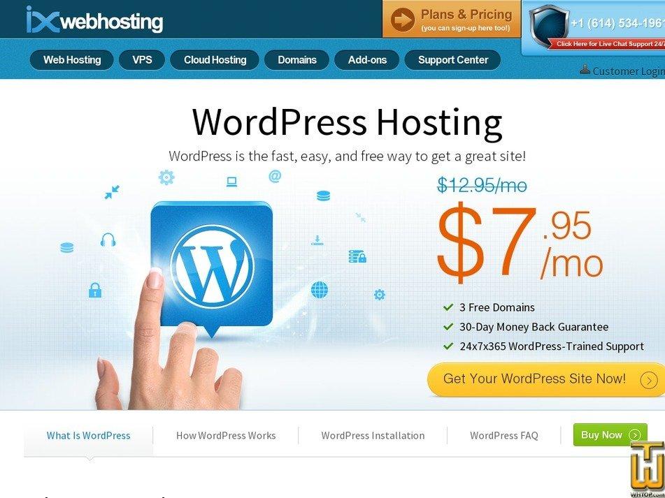 Screenshot of WordPress from ixwebhosting.com