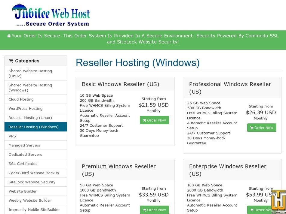 Screenshot of Basic Windows Reseller (US) from jubileewebhost.com