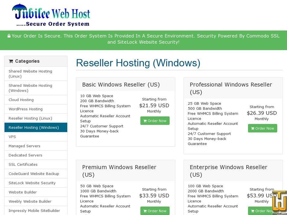 Screenshot of Enterprise Windows Reseller (US) from jubileewebhost.com