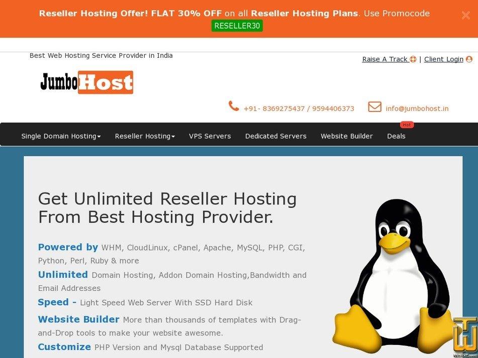 Screenshot of Mini Linux Reseller Hosting from jumbohost.in