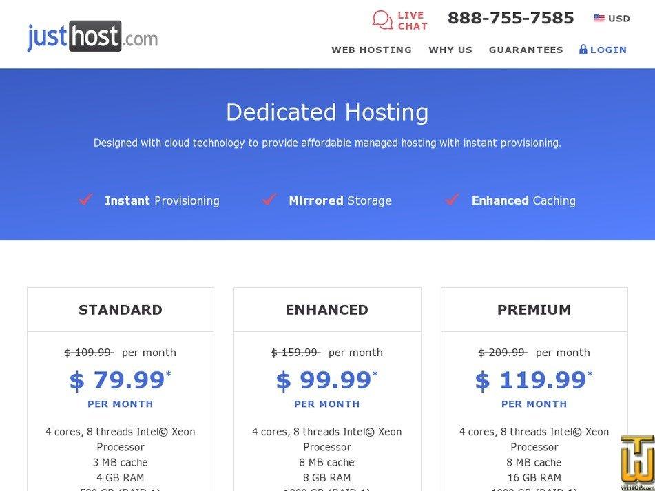 Screenshot of Standard from justhost.com
